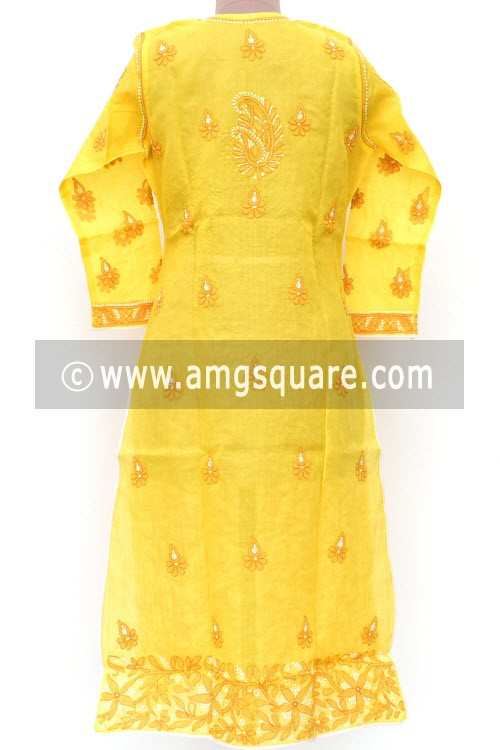Yellow Hand Embroidered Lucknowi Chikankari Long Kurti (Cotton) Bust-42 inch 18020