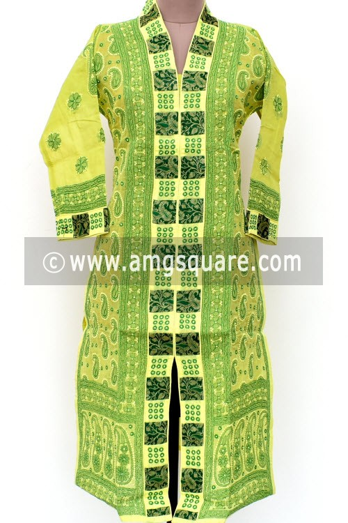 Green Hand Embroidered Lucknowi Chikankari Long Kurti (Cotton) Bust-42 inch 18023