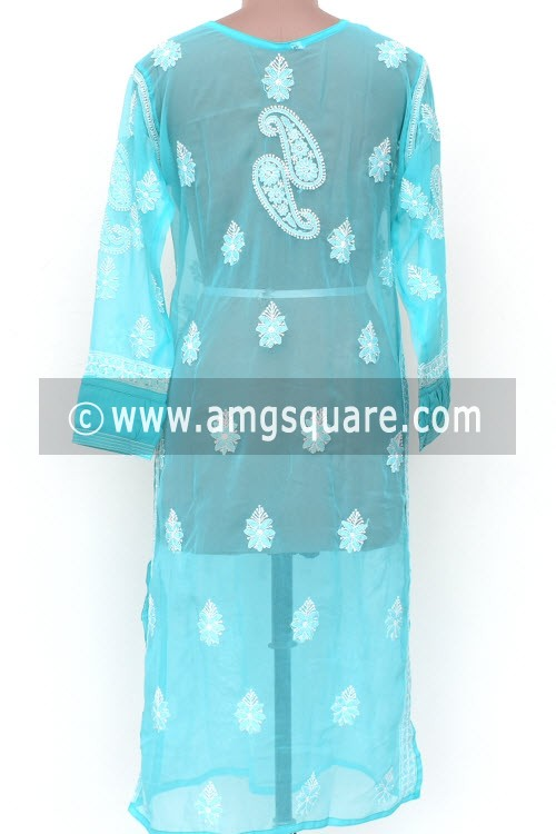 Sea Green Hand Embroidered Lucknowi Chikankari Long Kurti (Georgette) Bust-44 inch 18025