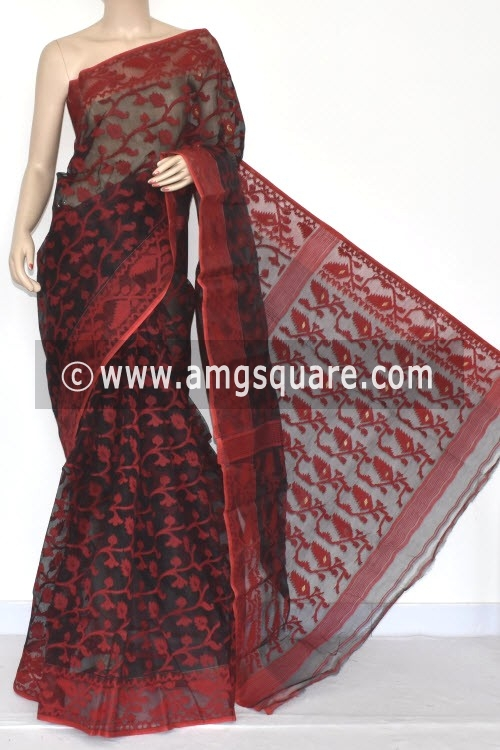 Black Red Handwoven Bengali Tant Kora Cotton Jamdani Saree (Without Blouse) 17214