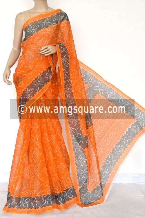 Orange Grey Premium JP Kota Doria Chunri Print Cotton Saree (without Blouse) 15425