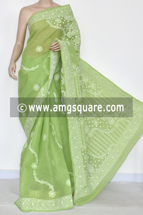 Menhdi Green Hand Embroidered Lucknowi Chikankari Saree (With Blouse - Cotton) 14675