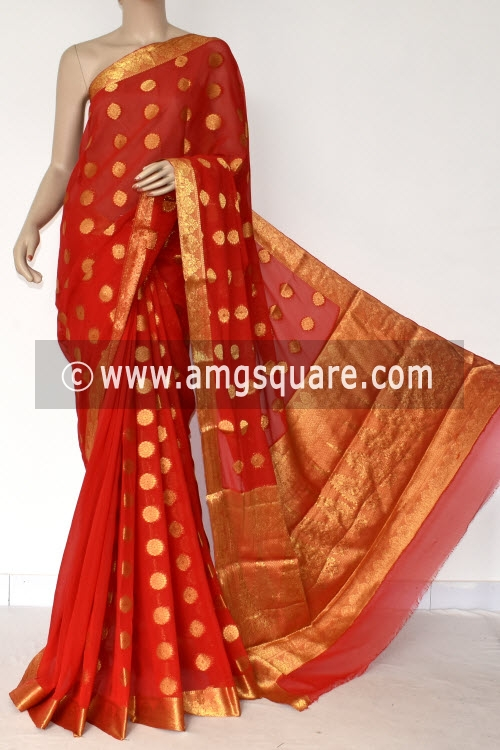 Red Handloom Semi-Chiffon Saree (with Blouse) Allover Zari Border and Booti 16191