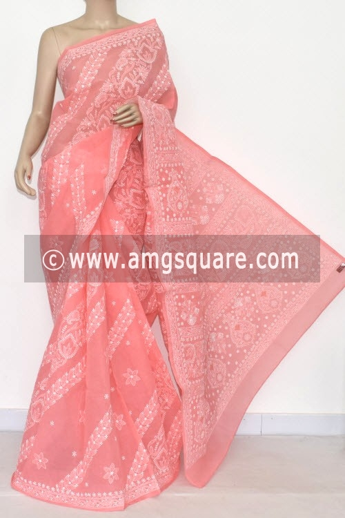 Peach Allover Hand Embroidered Lucknowi Chikankari Saree (With Blouse - Cotton) 14678