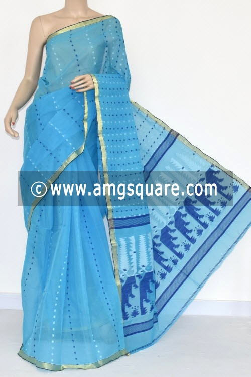Sky Handwoven Thousand Booti Bengal Tant Cotton Saree (Without Blouse) 14033
