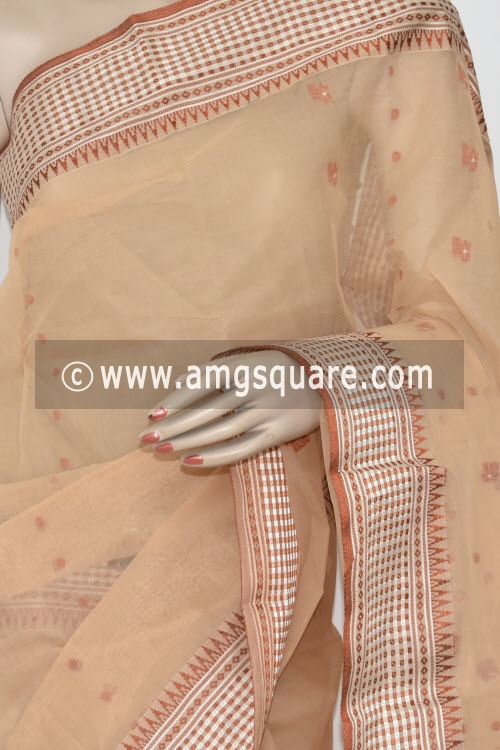 Beige Handwoven Bengal Tant Cotton Saree (Without Blouse) Resham Border 17372