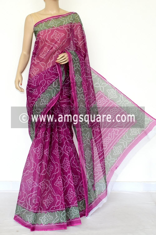 Purple Premium JP Kota Doria Chunri Print Cotton Saree (without Blouse) 15435