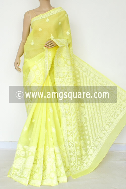 Lemon Yellow Hand Embroidered Lucknowi Chikankari Saree (With Blouse - Cotton) Rich Border and Pallu 14763