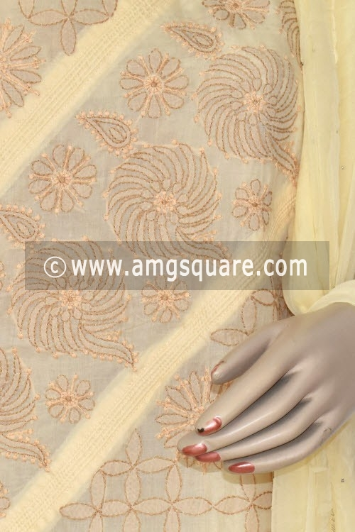 Beige Un-Stitched Hand-Embroidered Lucknowi Chikankari Salwar Kameez (Cotton) 17873