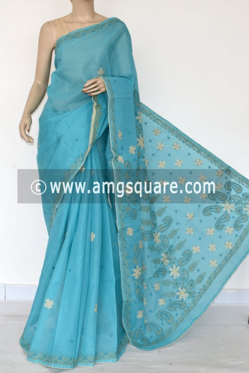Blue Applique Work Hand Embroidered Lucknowi Chikankari Saree (With Contrast Blouse - Cotton) 14727