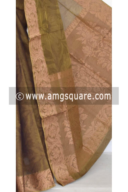 Menhdi Green Dhoop-Chhaon South Cotton Handloom Saree (With Blouse) 17081
