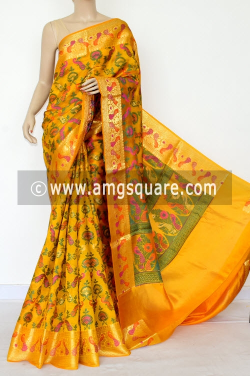Golden Yellow Handloom Katan Pure Silk Saree (With Blouse) Allover Resham Weaving Zari Border 16267