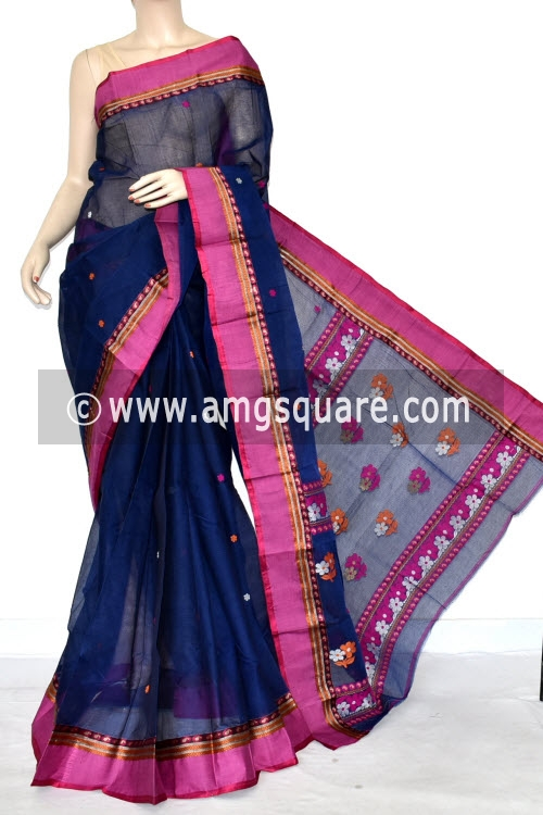 Navy Blue Handwoven Bengal Tant Cotton Saree (With Blouse) Resham Weaving Garad Border 17242