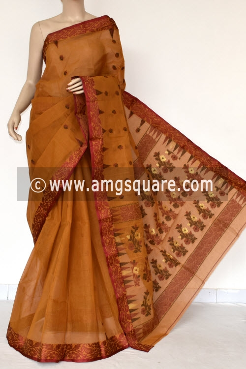 Mustared Yellow Handwoven Bengal Tant Cotton Saree (Without Blouse) Resham Border 17404
