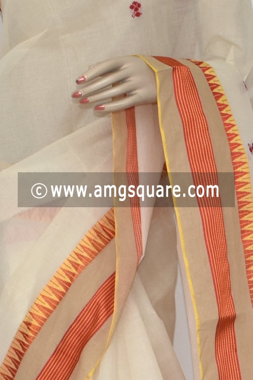 Off White Handwoven Dhaniakhali Bengali Tant Cotton Saree (Without Blouse) 13953