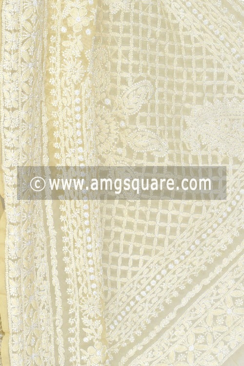 Ochre Yellow Designer Hand Embroidered Lucknowi Chikankari Saree (With Blouse - Georgette) 14485