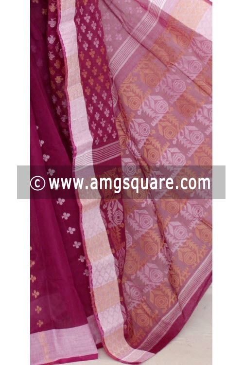 Magenta Handwoven Bengal Tant Cotton Saree (Without Blouse) 13872