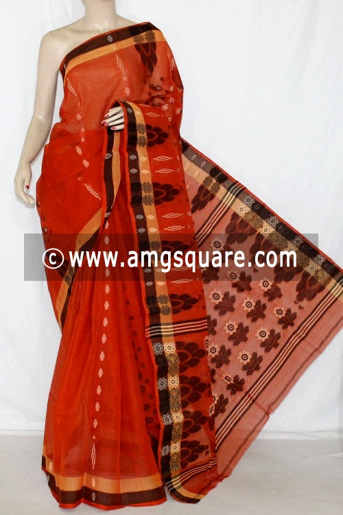 Rust Handwoven Bengali Tant Cotton Saree (Without Blouse) 14047