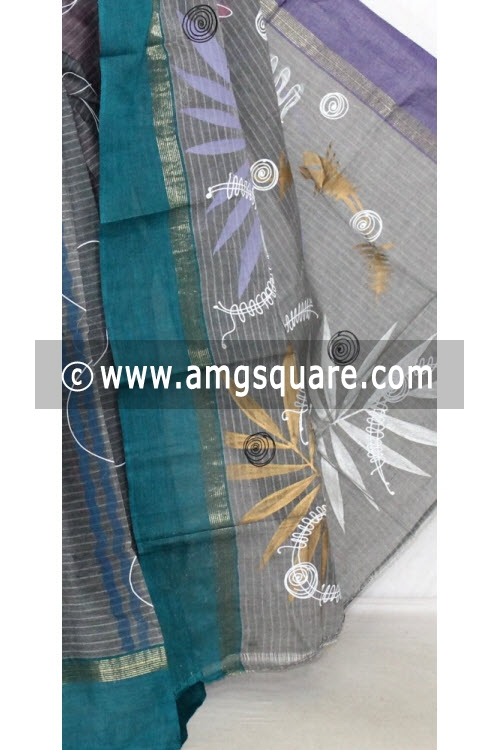 Grey with Purple Green Ganga Yamuna Border Hand-printed Bengali Tant Cotton Saree (Without Blouse) 13920