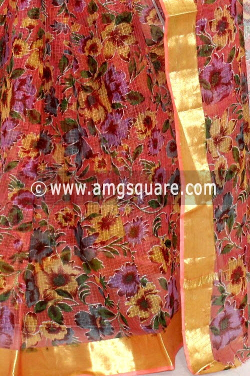 Mustared JP Kota Doria Floral Printed Cotton Saree (without Blouse) Zari Border 15275