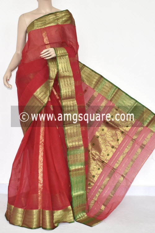 Red Handwoven Bengal Tant Cotton Saree (Without Blouse) Zari Border & Pallu 17126