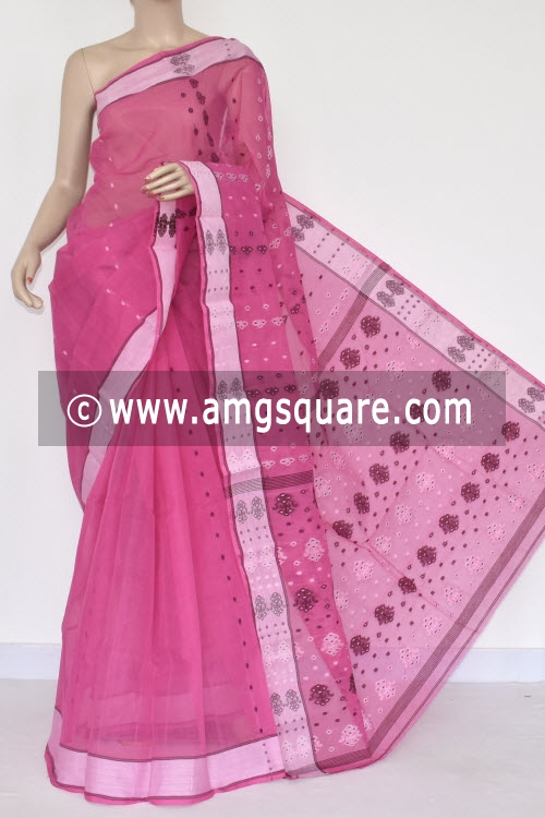 Pink Handwoven Bengal Tant Cotton Saree (Without Blouse) 17387