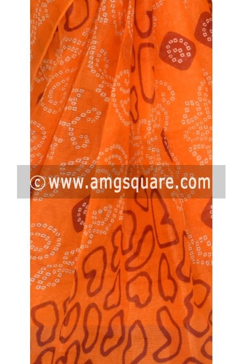 Light Orange JP Kota Doria Chunri Print Cotton Saree (without Blouse) 15334