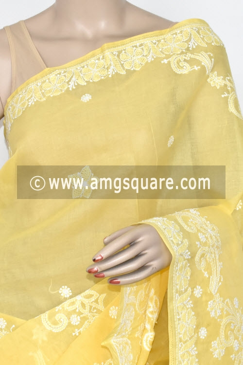 Yellow Hand Embroidered Lucknowi Chikankari Saree (With Blouse - Cotton) 14718