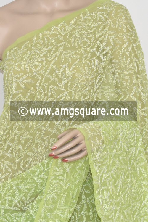 Menhdi Green Allover Tepchi Work Hand Embroidered Lucknowi Chikankari Saree (With Blouse - Georgette) 14831