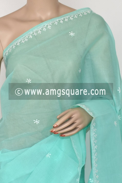 Sea Green Hand Embroidered Lucknowi Chikankari Saree (With Blouse - Cotton) 14519