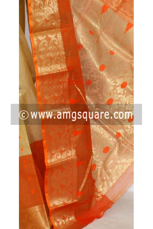 Fawn Orange Designer Tussar Silk Saree (Muslin Silk) 17287