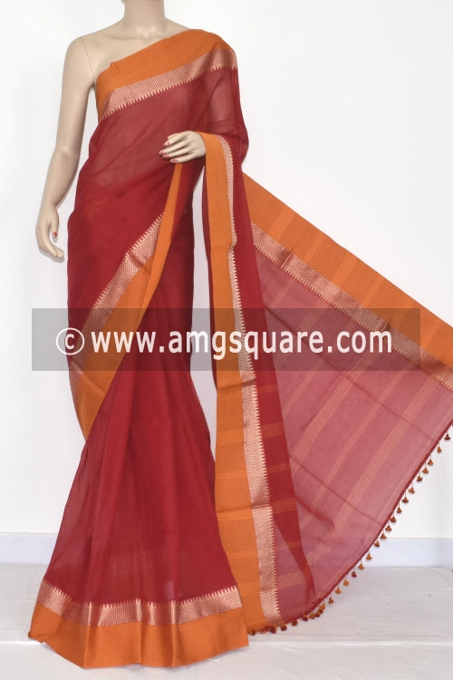 Red Mustared Handwoven Bengali Tant Soft Cotton Saree (Without Blouse) 17068