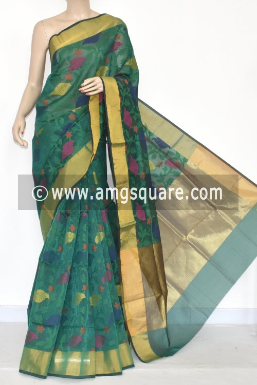 Bottle Green Banarasi Kora Cot-Silk Handloom Saree (With Blouse) Zari Border 16131