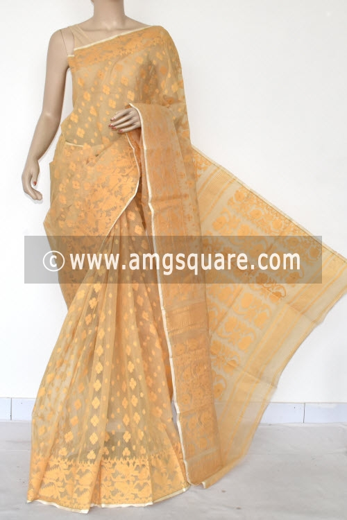 Fawn Jamdani Handwoven Bengal Tant Cotton Saree (Without Blouse) 17020