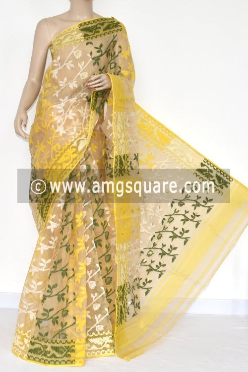 Fawn Handwoven Bengali Tant Kora Cotton Jamdani Saree (Without Blouse) 17220