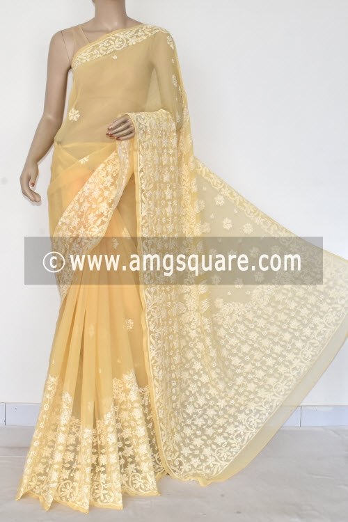 Beige Designer Hand Embroidered Lucknowi Chikankari Saree (With Blouse - Georgette) 14599