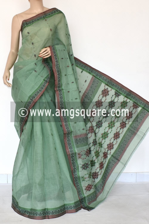 Pista Green Handwoven Bengal Tant Cotton Saree (Without Blouse) Resham Border 17120