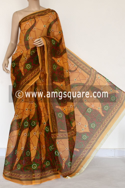 Mustared Yellow Premium JP Kota Doria Printed Cotton Saree (without Blouse) 15372