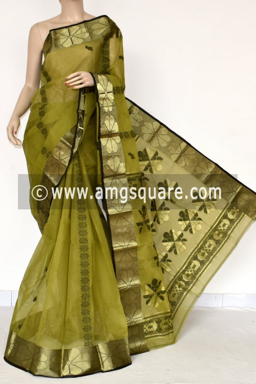 Menhdi Green Handwoven Bengal Tant Cotton Saree (Without Blouse) Zari Border 17395
