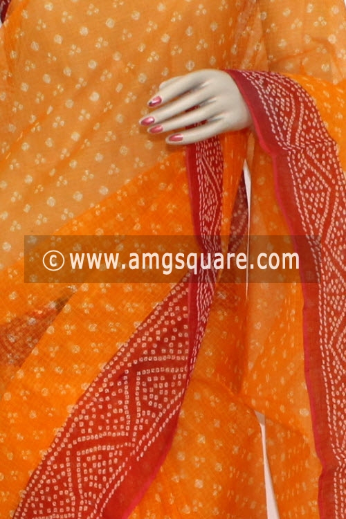 Orange Red JP Kota Doria Chunri Print Cotton Saree (without Blouse) 15302