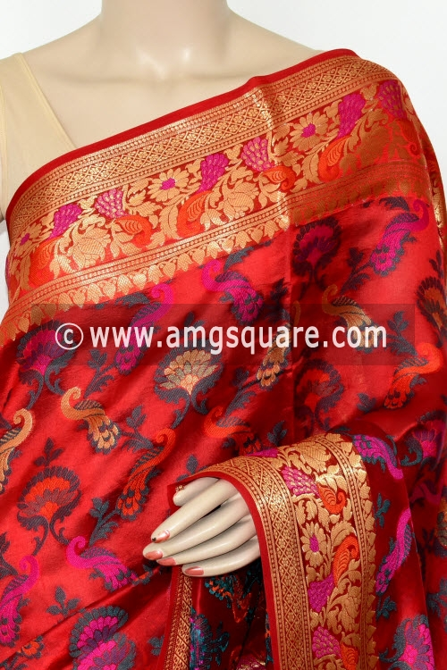 Red Handloom Katan Pure Silk Saree (With Blouse) Allover Resham Weaving Zari Border 16268