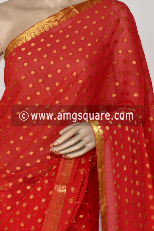 Peach Handloom Semi-Chiffon Saree (with Blouse) Allover Zari Border and Booti 16206