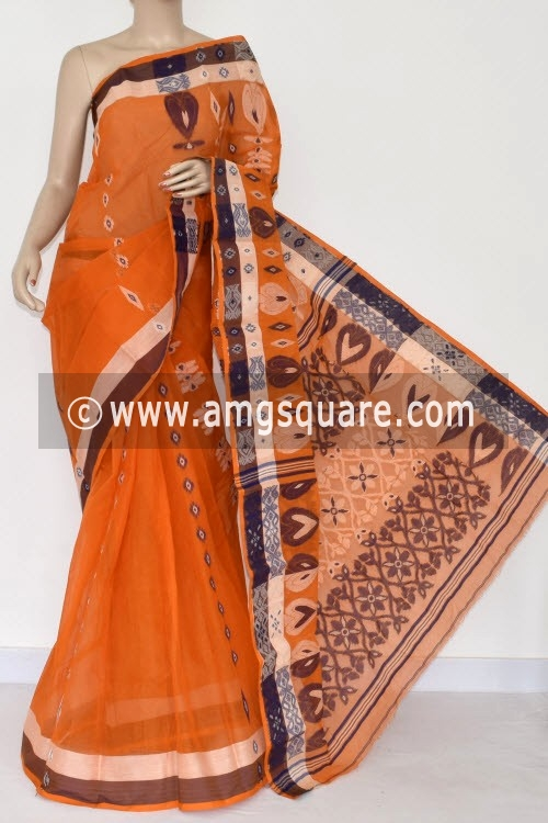 Orange Handwoven Bengal Tant Cotton Saree (Without Blouse) 14167