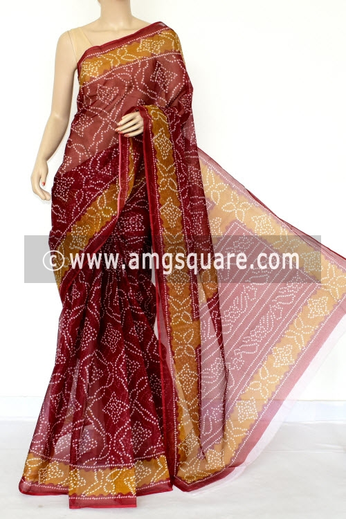 Dark Maroon Premium JP Kota Doria Chunri Print Cotton Saree (without Blouse) 15433