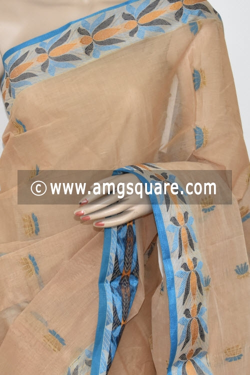 Fawn Resham Border Handwoven Bengal Tant Cotton Saree (Without Blouse) 17250
