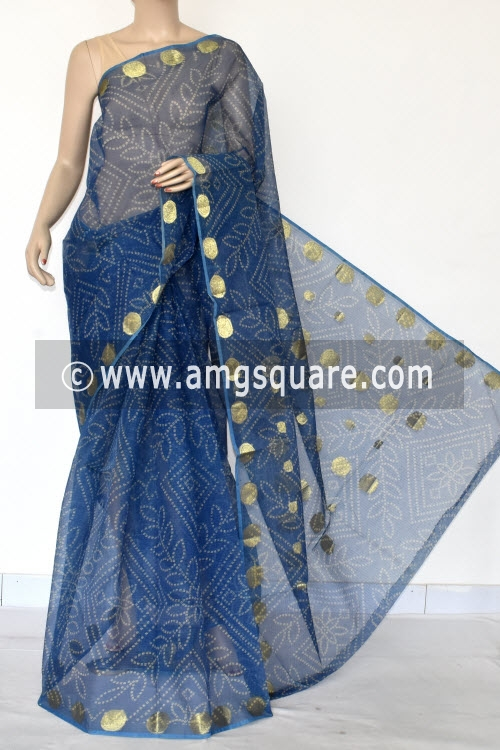Blue Chunri Print JP Kota Doria Cotton Saree (without Blouse) Zari Border and Pallu 13545