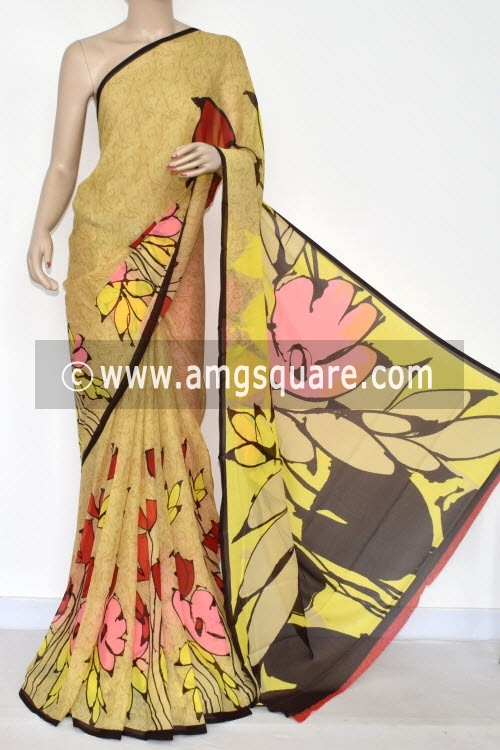 Yellow Printed Wrinkle Georgette Saree (With Blouse) 13427