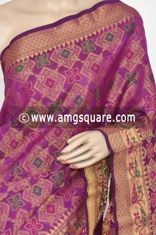 Magenta Handloom Banarasi Kora Saree (with Blouse) Allover Resham Weaving 16243
