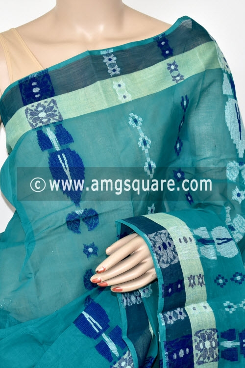 Dark Sea Green Handwoven Bengal Tant Cotton Saree (Without Blouse) 14077