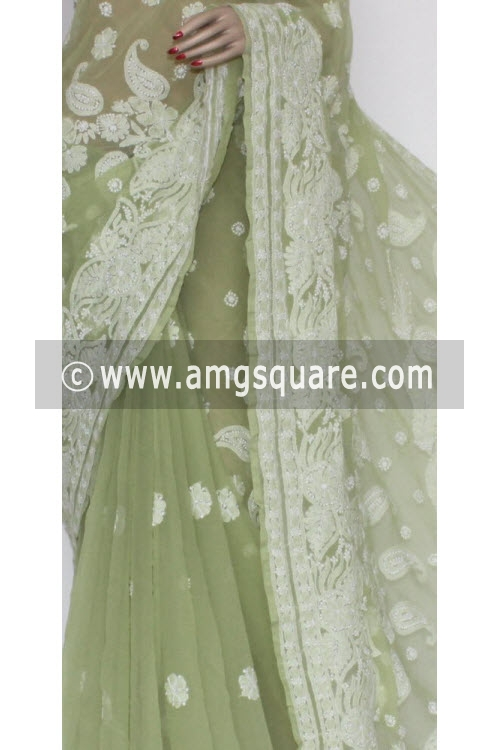 Pista Green Designer Hand Embroidered Lucknowi Chikankari Saree (With Blouse - Georgette) 14445